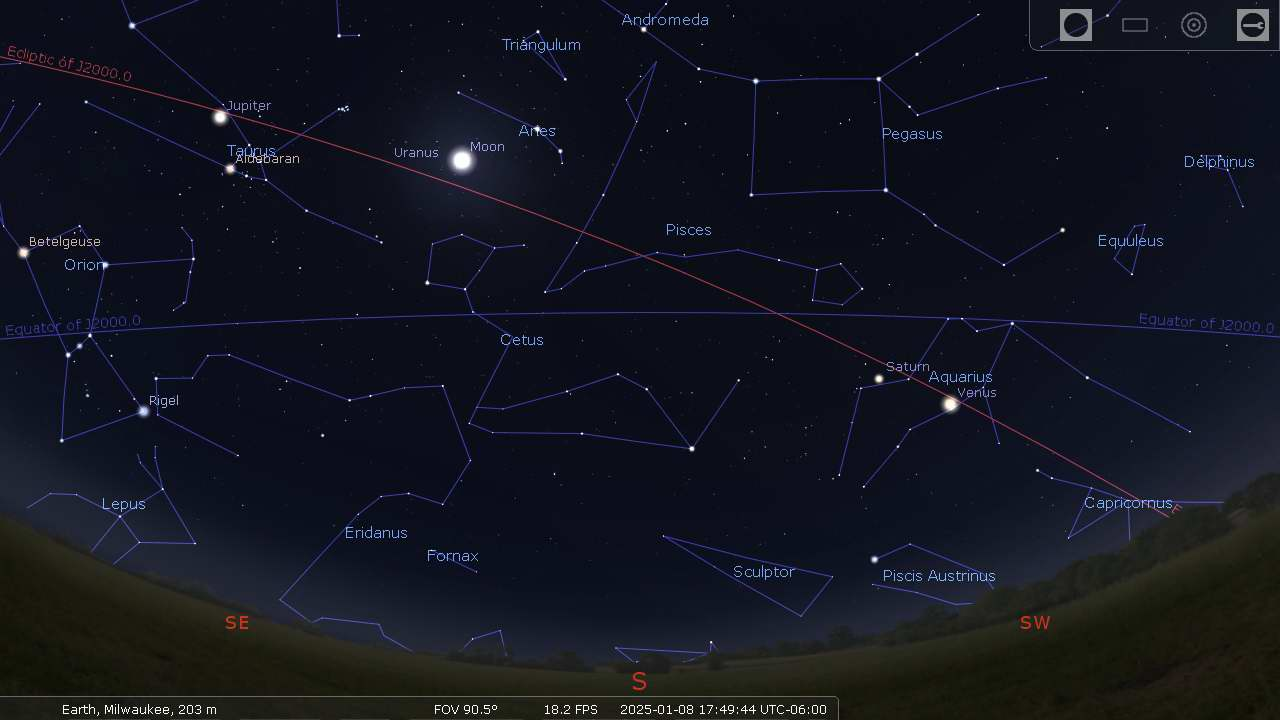 Moon and planets along the ecliptic path - Stellarium