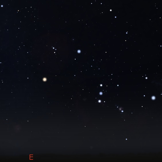 Orion just rising in the east. Stellarium.
