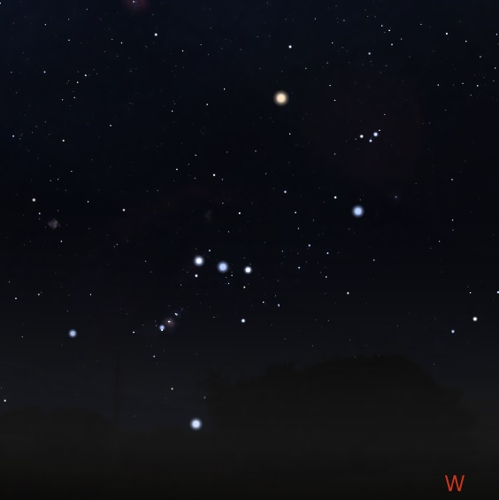 Orion just before setting in the west. Stellarium.
